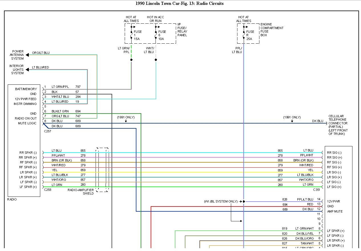 hight resolution of lincoln town car radio wiring diagram
