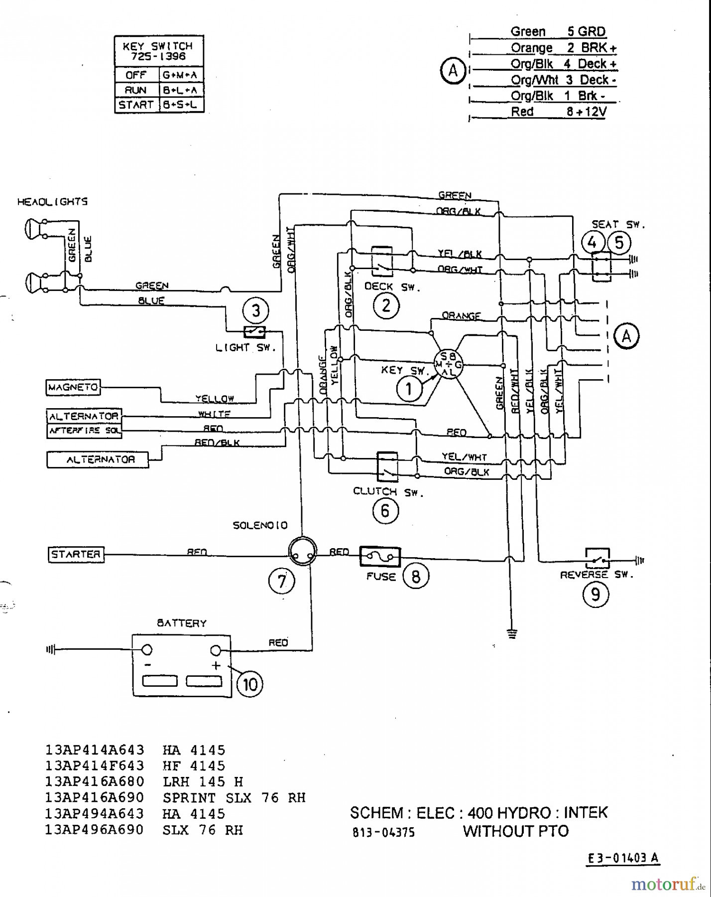 wiring diagram for mtd riding lawn mower