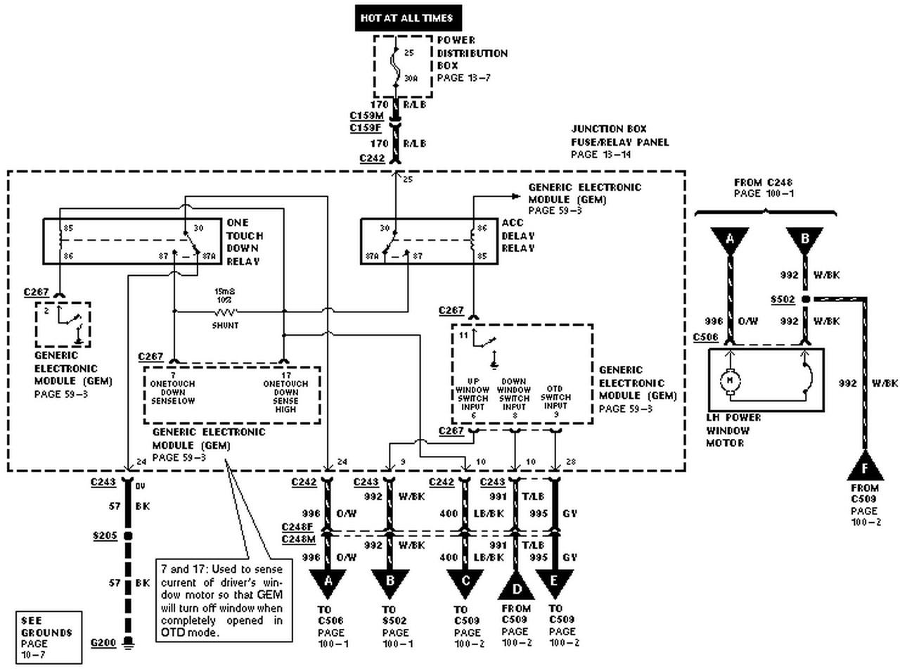 Power Windows Wiring Diagram