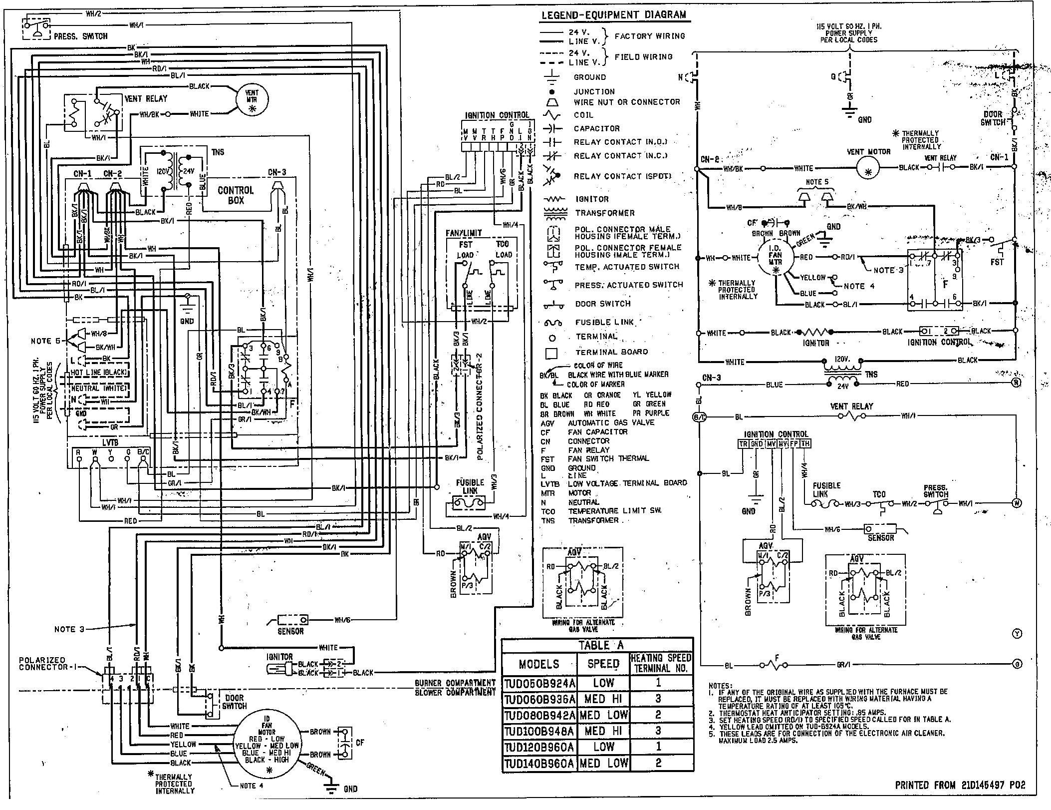 rheem furnace thermostat wiring diagram