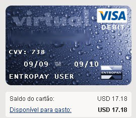 Exemplo do cartao virtual Entropay