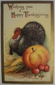 Vintage Thanksgiving Day Postcard by riptheskull