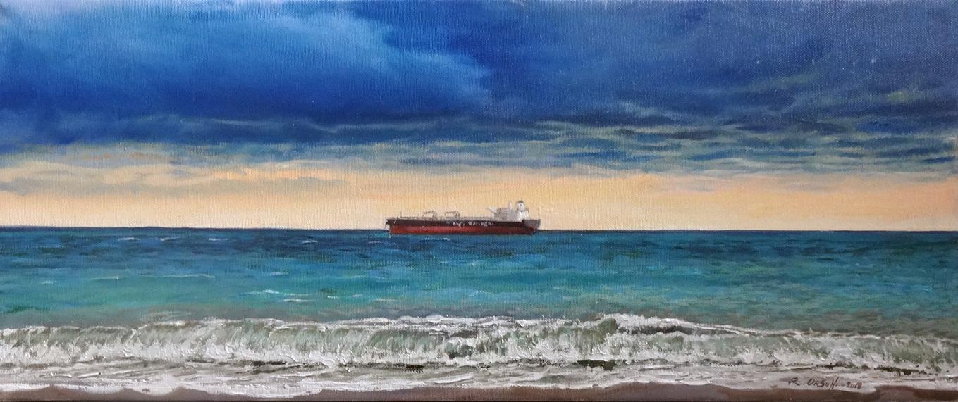 attracco davanti a Savona - 60x25 - oil on canvas -2018