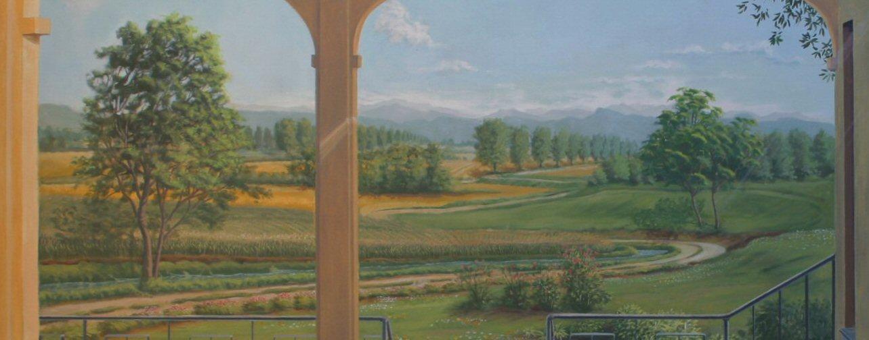 terrazza con paesaggio a casa di Gabriella, Pizzighettone - particolare - circa 5x4 m