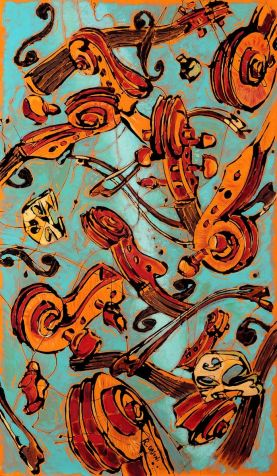 floating violin blue - 60x120 - acrylic and glaze on canvas - 2010