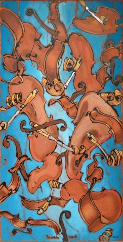 floating violin blue2 - 60x120 - acrylic and glaze on canvas - 2010