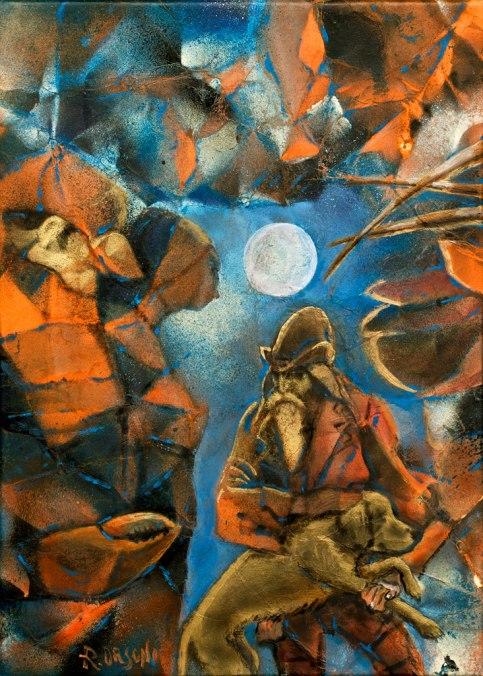 cani chele - 25x35 -mixed media on canvas - 2014
