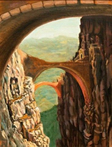 gli abbarbicati dei 3 ponti - 27x35 -oil on canvas - 2011
