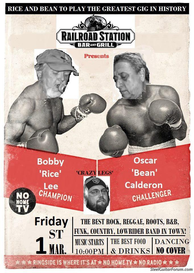 """Bobby and Oscar duke it out, with referee Dave """"Crazy Legs"""" Garland."""