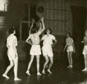 Girls basketball 1934 Jump high we want our quarters worth