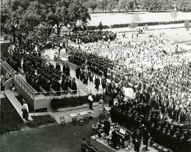 Semicentennial stands and crowd