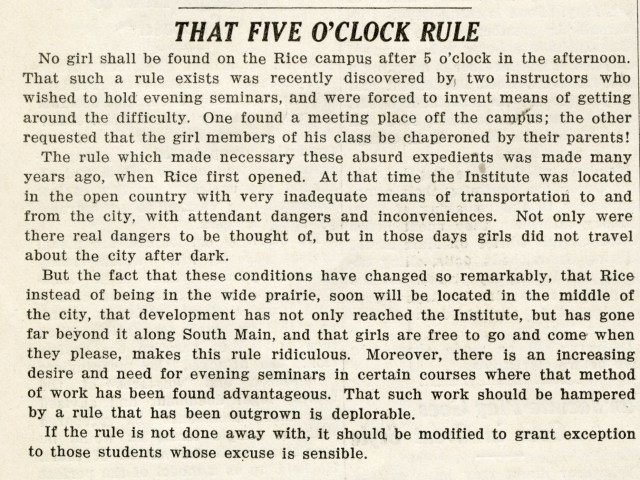 5 oclock rule january 1930