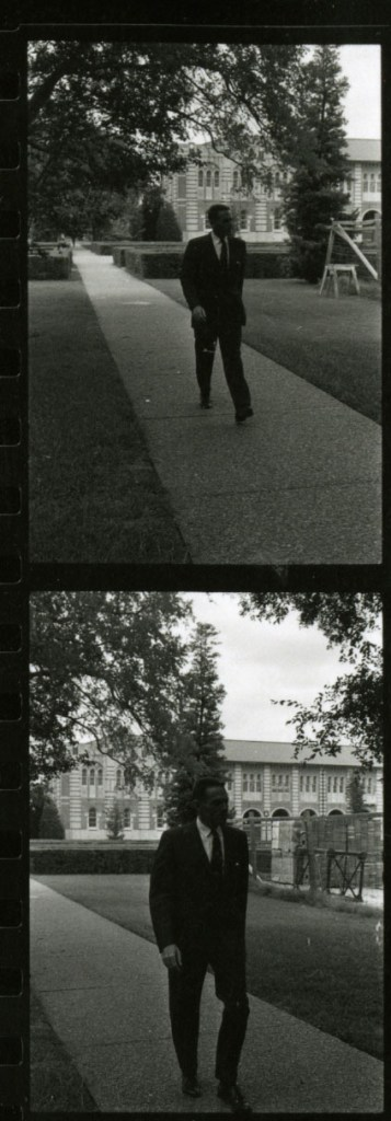 Hackerman walking with construction 1971