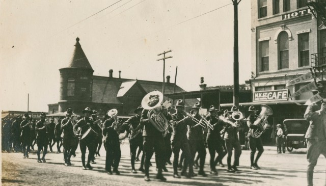 Football Band in Austin 1917 closeup