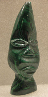 malachite carved face - special exhibit at Rice Northwest Rock and Mineral Museum