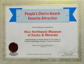 People's Choice Award for Best Attraction from the Washington County Visitor and Tourism Bureau 2013.