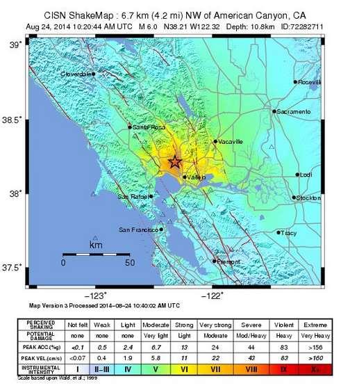 CISN ShakeMap of Napa Valley Earthquake.