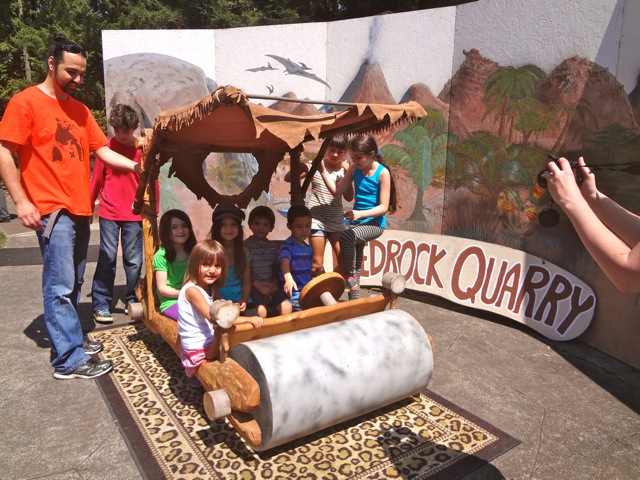 Posing in the Flintstone Mobile at the Rice Museum of Rocks and Minerals (4)