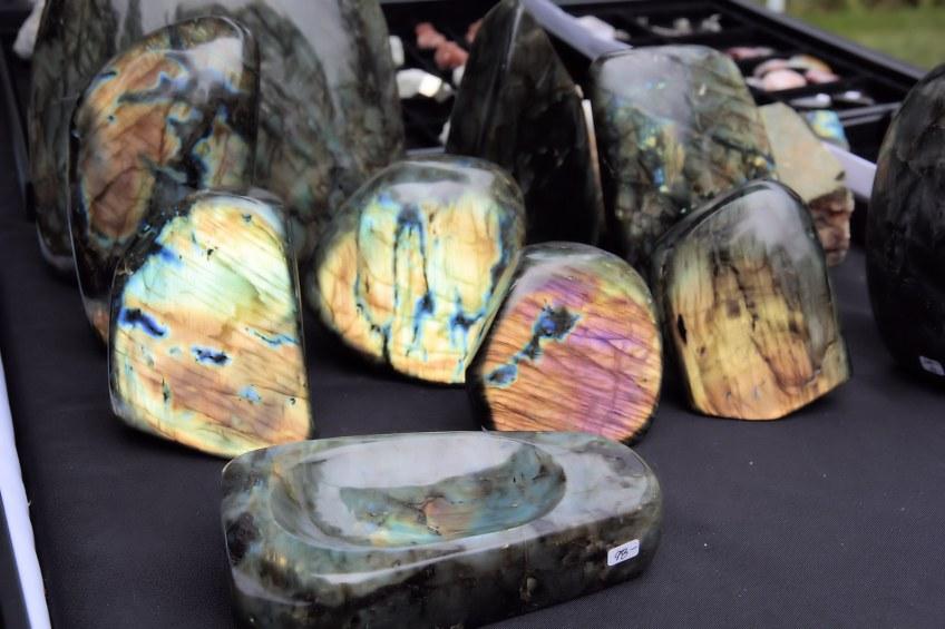 Polished stones at vendor booth at Summer Fest.