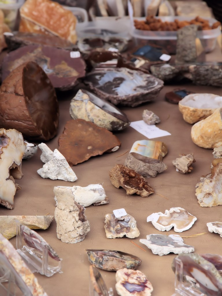 Rocks and minerals on display in vendor booth at Summer Fest.