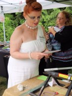 Wilma Flintstone does a little rock shopping.