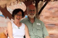 Julian Gray and wife and volunteer Barb Epstein in the Flintmobile.