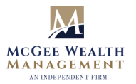McGee Wealth Management logo, text written center in gold and blue