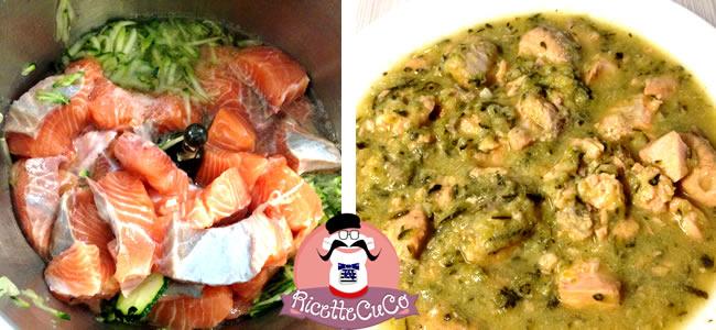 Salmone fresco e Zucchine con il Cuisine Companion salmone zucchine bambini alimentazione secondo microonde monsier cuisine moncu moulinex cuisine companion ricette cuco bimby