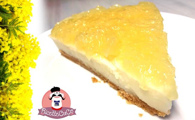 Cheesecake (falsa) Torta Mimosa a modo mio con il Cuisine Companion torta mimosa cheesecake fredda crema latte ananas senza cottura monsier cuisine moncu moulinex cuisine companion ricette cuco bimby