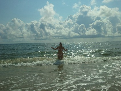 Tina just playing in the waves