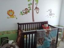 Crib and jungle wall