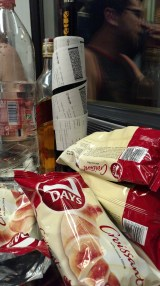 Train dinner - Chocolate croissants, whiskey, and peach Pálinka