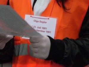 In memory of Olga, 2009, Reading her story.