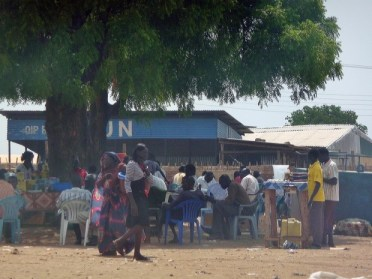 Polio vaccination clinic under the trees