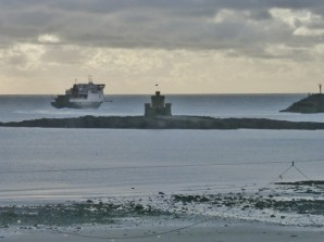 Ferry goes by the tower of refuge.