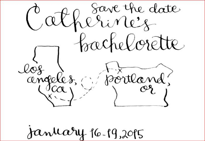 Bachelorette Save the Date with red border