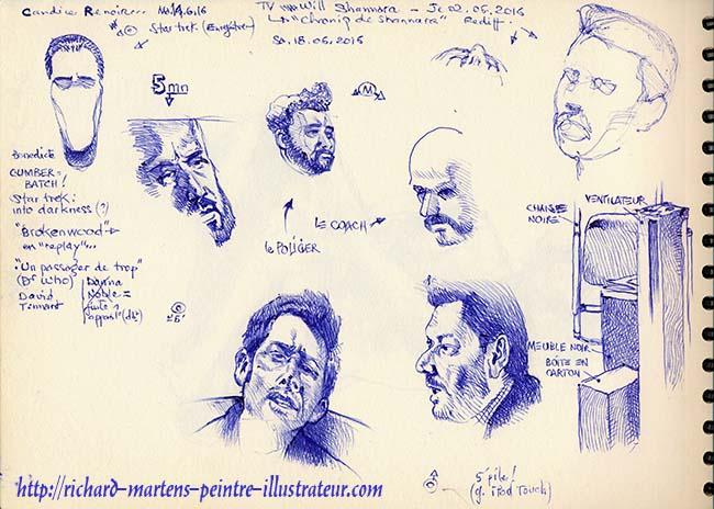 Une page en format A4, dessinée au stylo-bille bleu, devant la télévision, par Richard Martens, le 18 juin 2016.