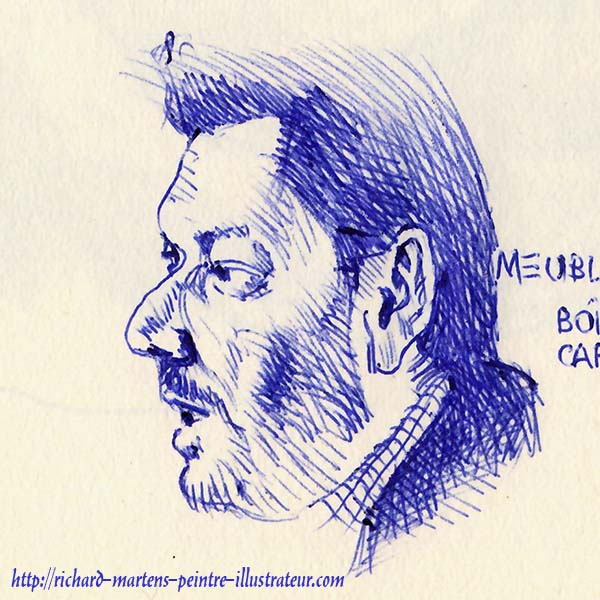 Un autre portrait dessiné au stylo-bille bleu, devant la télévision, par Richard Martens, le 18 juin 2016.