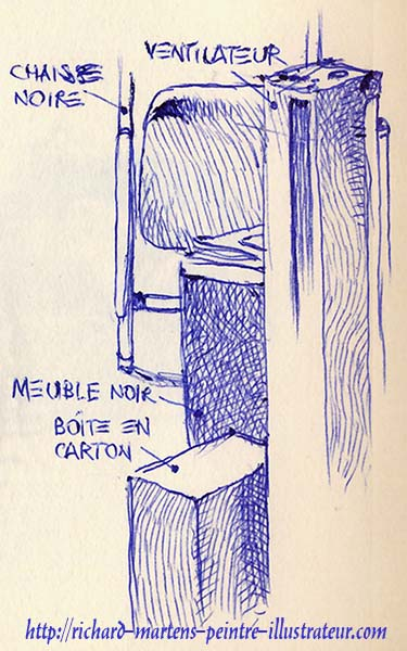 Un coin d'appartement, dessiné au stylo-bille bleu, par Richard Martens, le 18 juin 2016.
