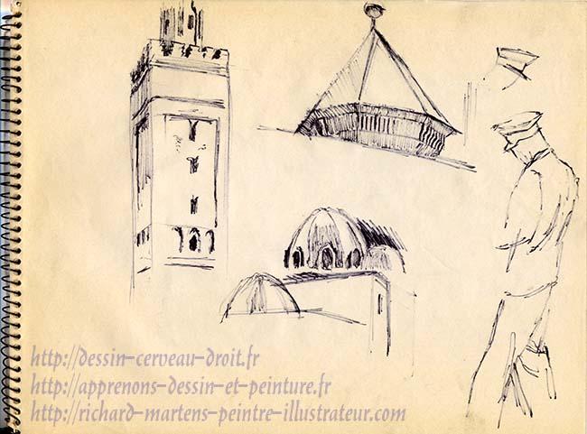 Dessins d'architecture de la Grande Mosquée à Paris, dans le 5e arrondissement, par Richard Martens, circa1971.