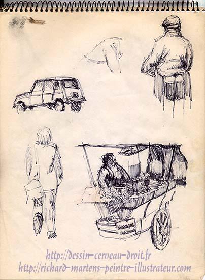 Croquis au feutre, rue Mouffetard à Paris (5e arrondissement), par Richard Martens. Circa 1974.