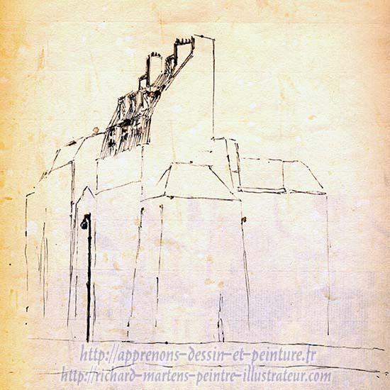 Dessin d'architecture d'immeubles à Paris, sur les quais, par Richard Martens, circa1971.