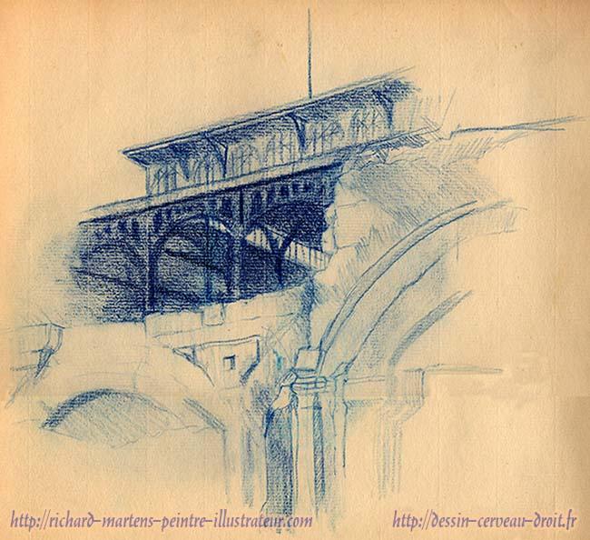 Dessin au crayon bleu en contre-plongée, des Halles de Paris, pendant leur destruction, par Richard Martens. Circa1971.