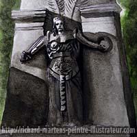 """Extrait du dessin d'une tombe monumentale du Père Lachaise pour """"Triste"""", au pinceau-réservoir noir, lavis et aquarelle verte, par Richard Martens, pour #INKtober2016 nº 5. #thefrenchINKtober #thefrenchINKtober2016 #INKtober #INKtober2016 @jakeparker #RichardMartens"""