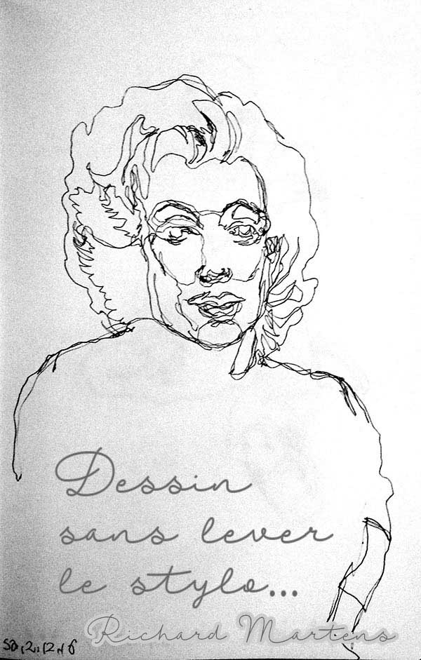 Dessin d'observation à partir d'une photo de Marilyn Monroe, réalisé au stylo-bille, sans lever l'outil, par Richard Martens.