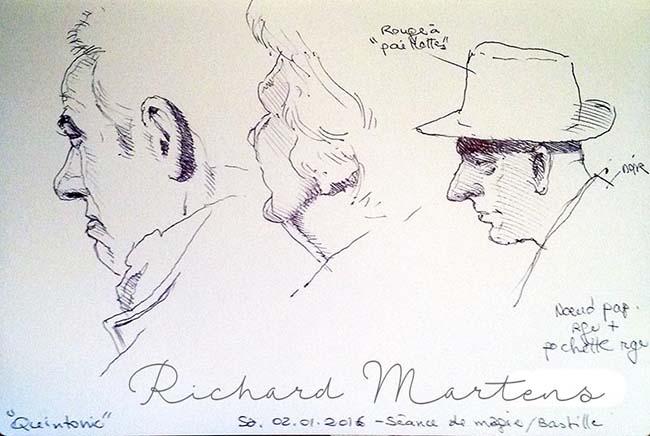 Trois portraits au stylo-bille, dessinés pendant un spectacle de prestidigitation dans un café, par Richard Martens.