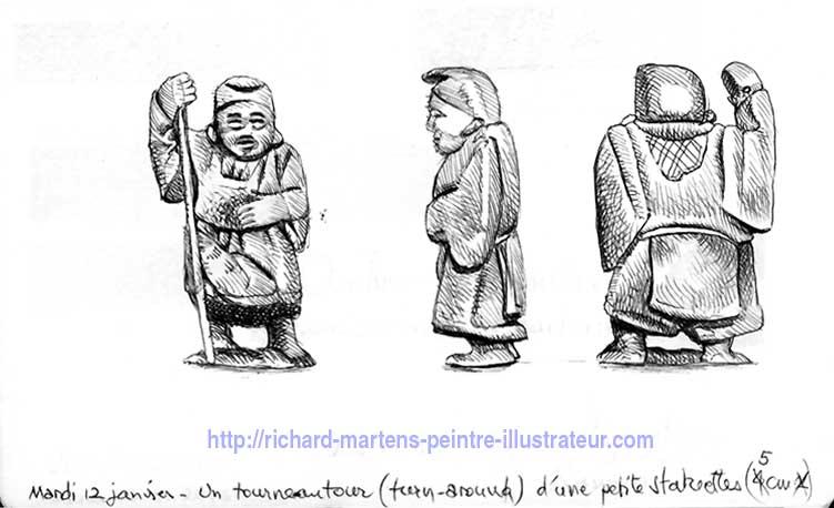 """Dessin d'observation en """"tournautour"""" à partir d'une petite statuette, réalisé au stylo-bille noir, par Richard Martens."""