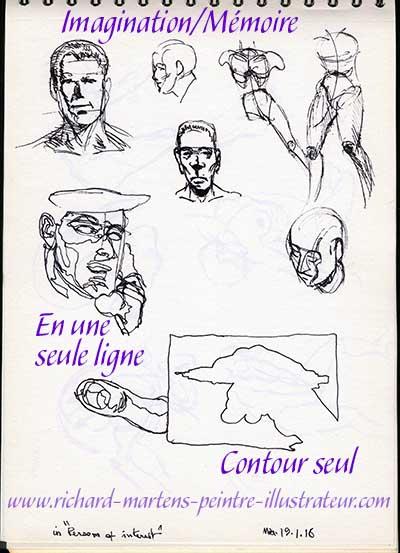Dessin d'imagination/mémoire et d'observation, réalisé au stylo-bille noir, par Richard Martens.
