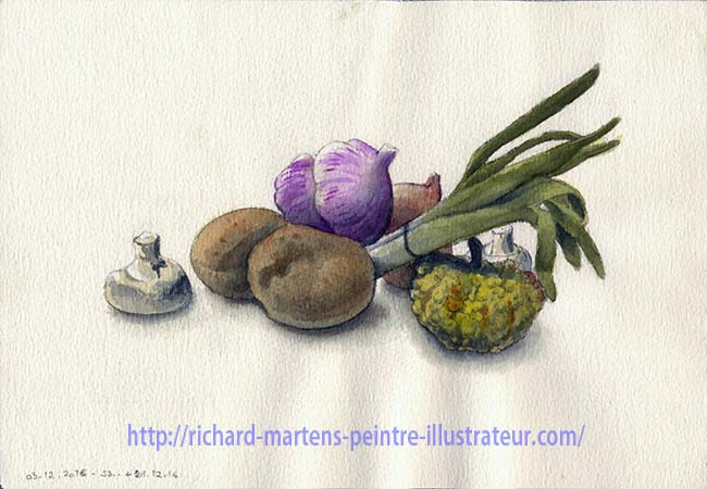 Nature morte à l'aquarelle, par Richard Martens, version 2.