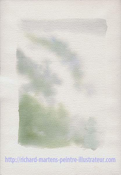 """Esquisse de l'aquarelle de Richard Martens : """"Le mont Huangshan dans les nuages"""". Février-mars 2017."""